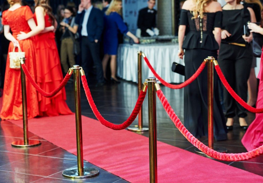Red carpet in an event venue