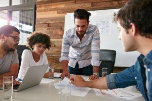 Marketing team strategizing