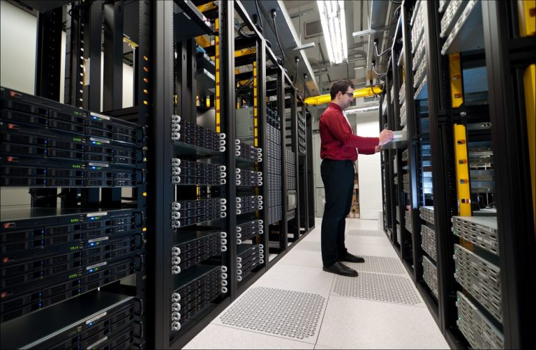 Employee in the storage server room