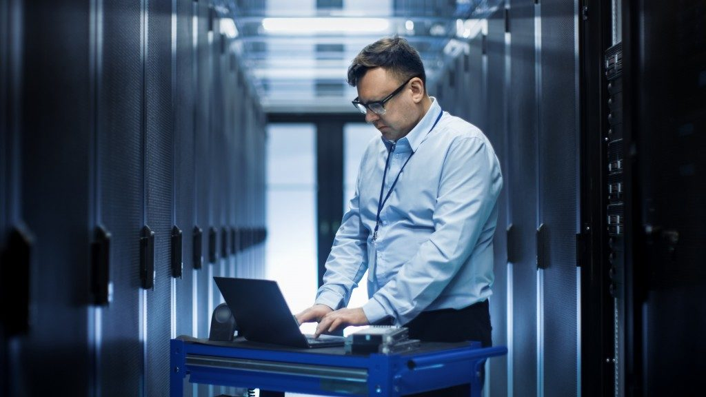 Man working in the data center