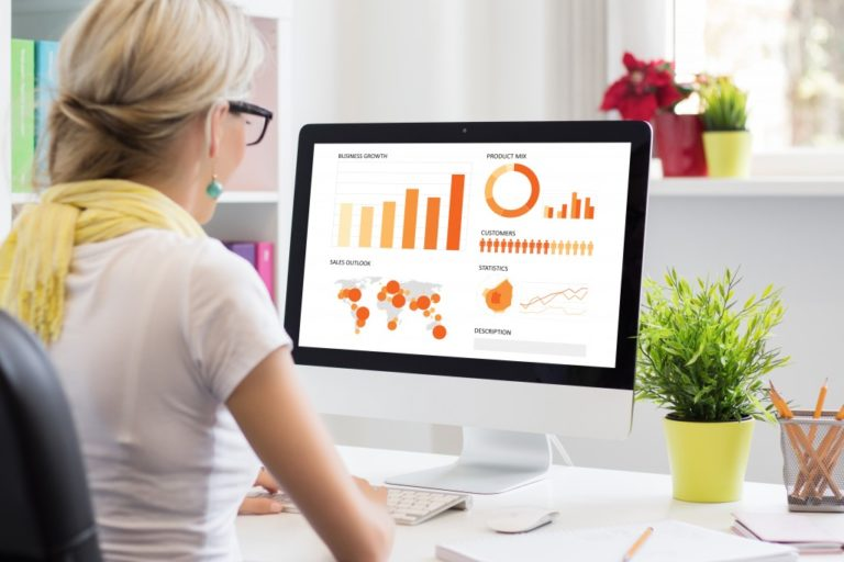 a woman checking analytics
