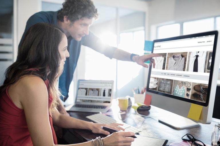 Woman editing a website