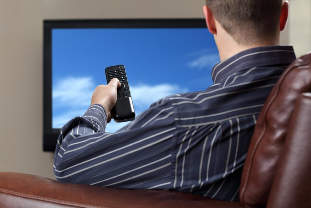 watching a television